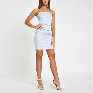 Light blue diamante strap mini dress