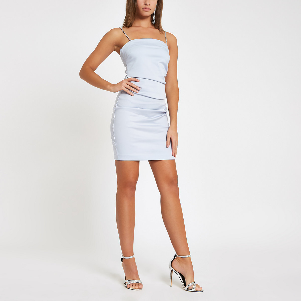 Light blue diamante strap mini dress