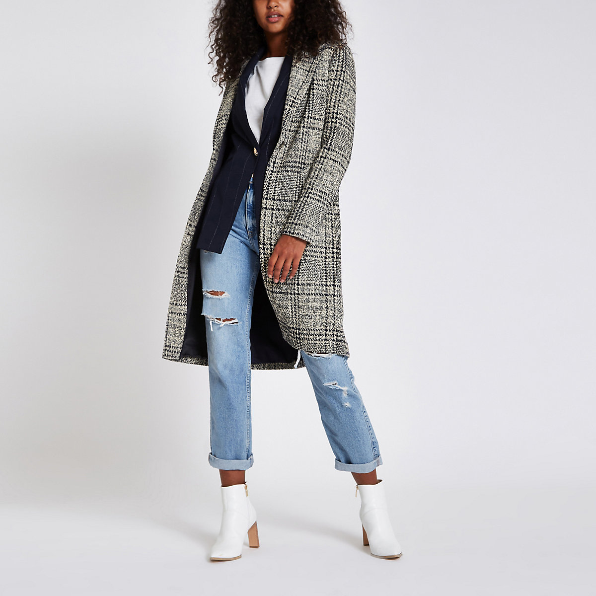 Navy check single-breasted longline coat