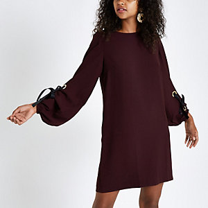 Dark red long sleeve swing dress