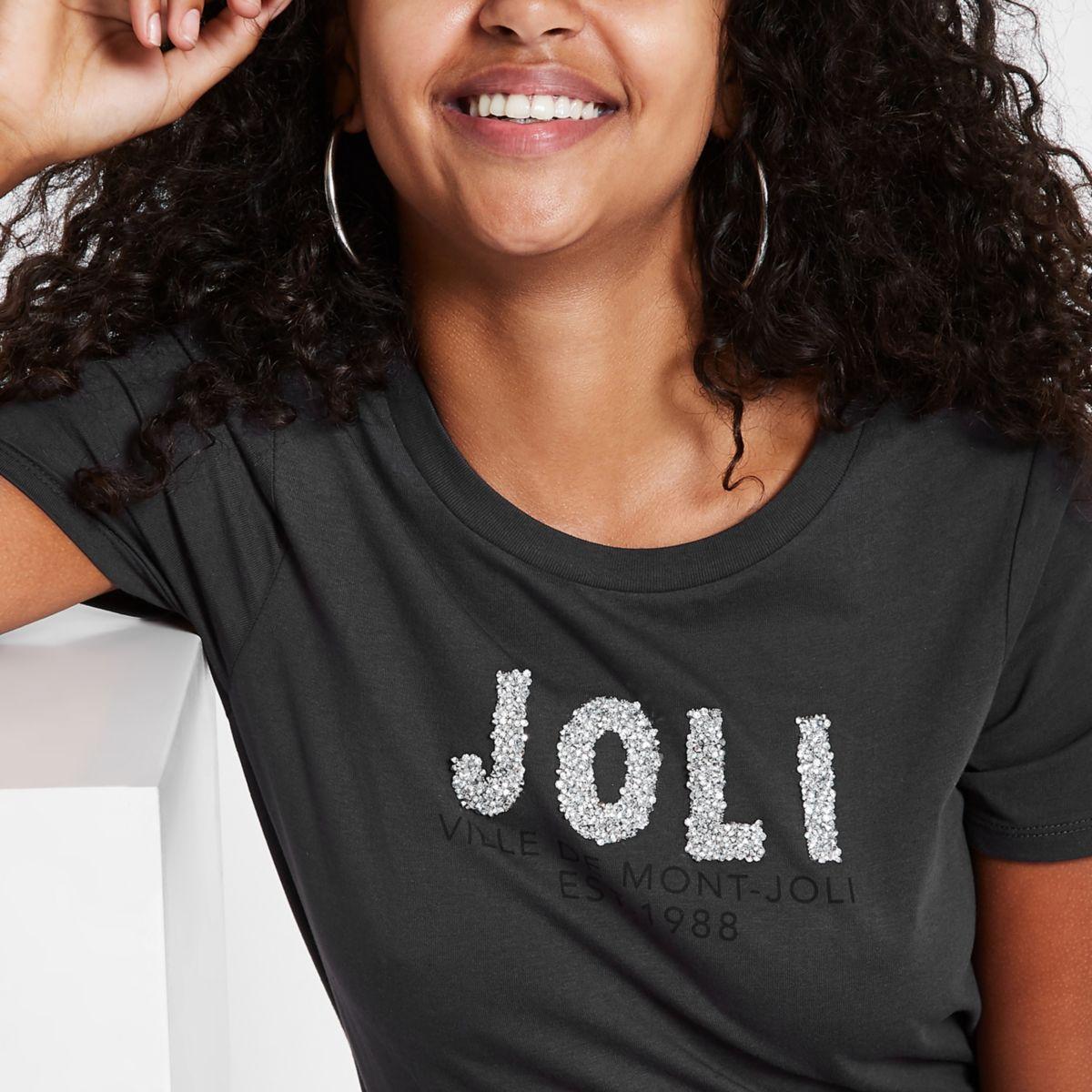 Dark grey 'Joli' rhinestone embellished T-shirt