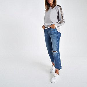 Grey sequin sleeve sweatshirt