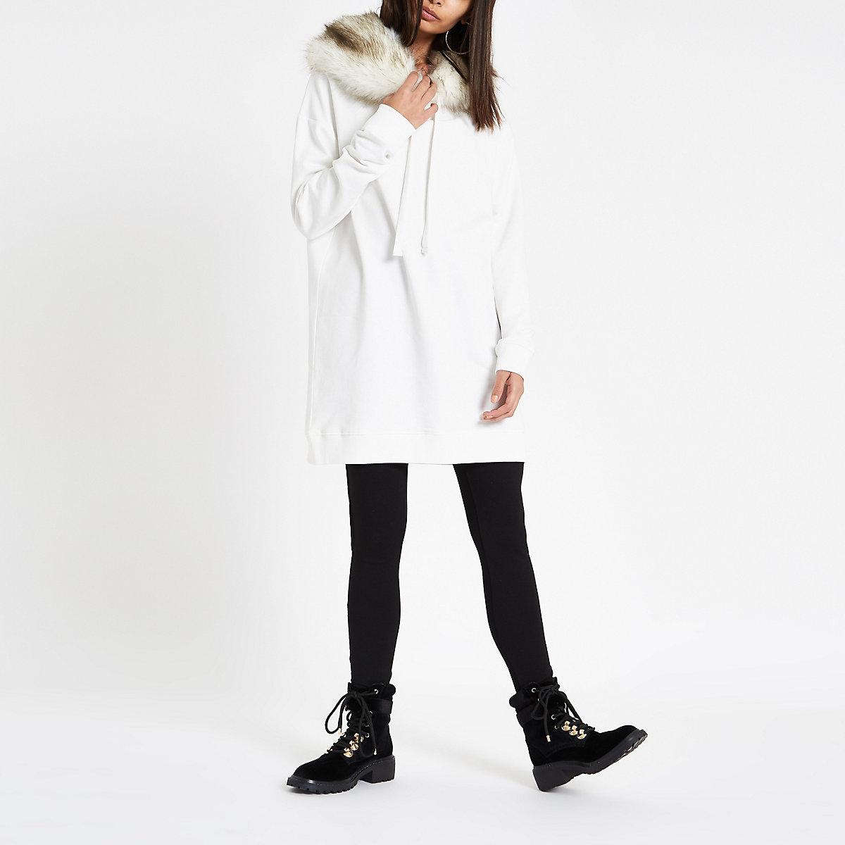 Cream faux fur trim longline hoodie