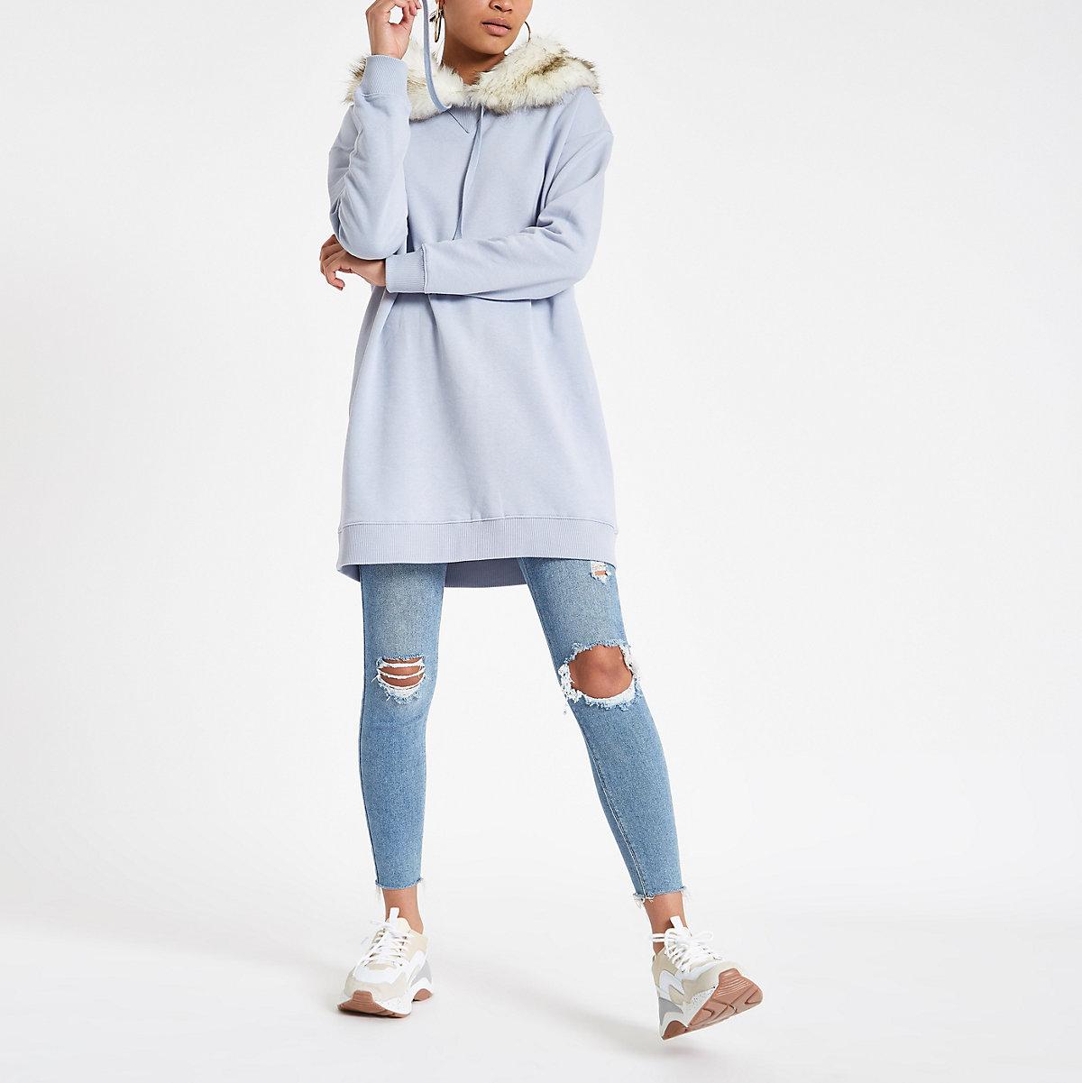 Blue faux fur trim longline hoodie