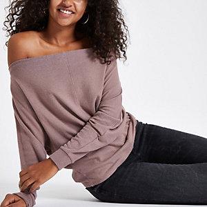 Brown bat wing bardot sweater
