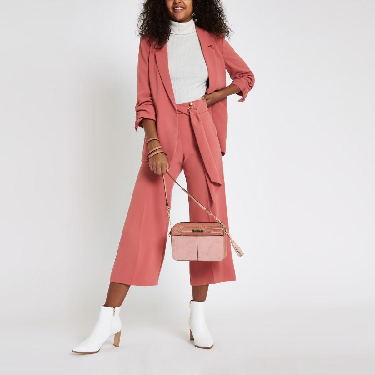 Dark pink sash belt cropped wide leg culottes