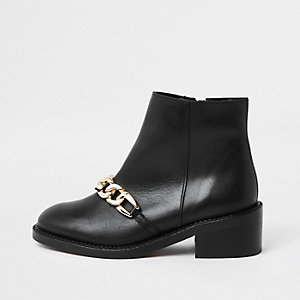 Black faux leather chain detail ankle boots