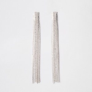 Silver tone slinky drop earrings
