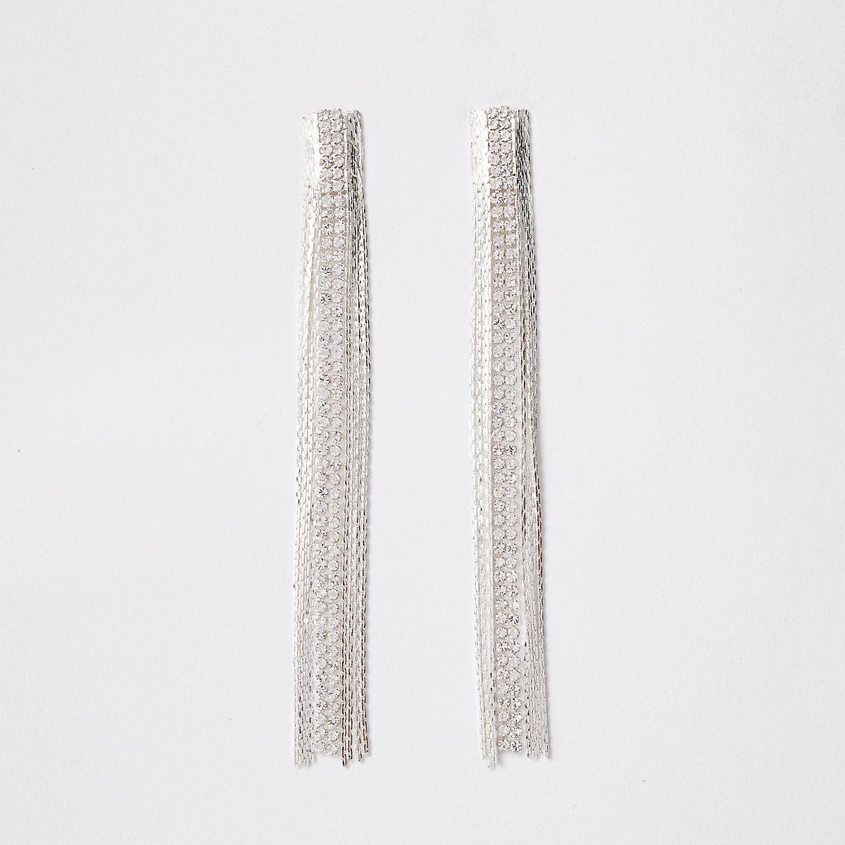 Silver tone slinky drop earrings