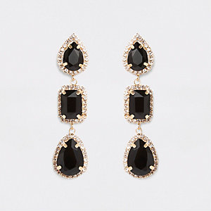 Black mixed shape rhinestone drop earrings
