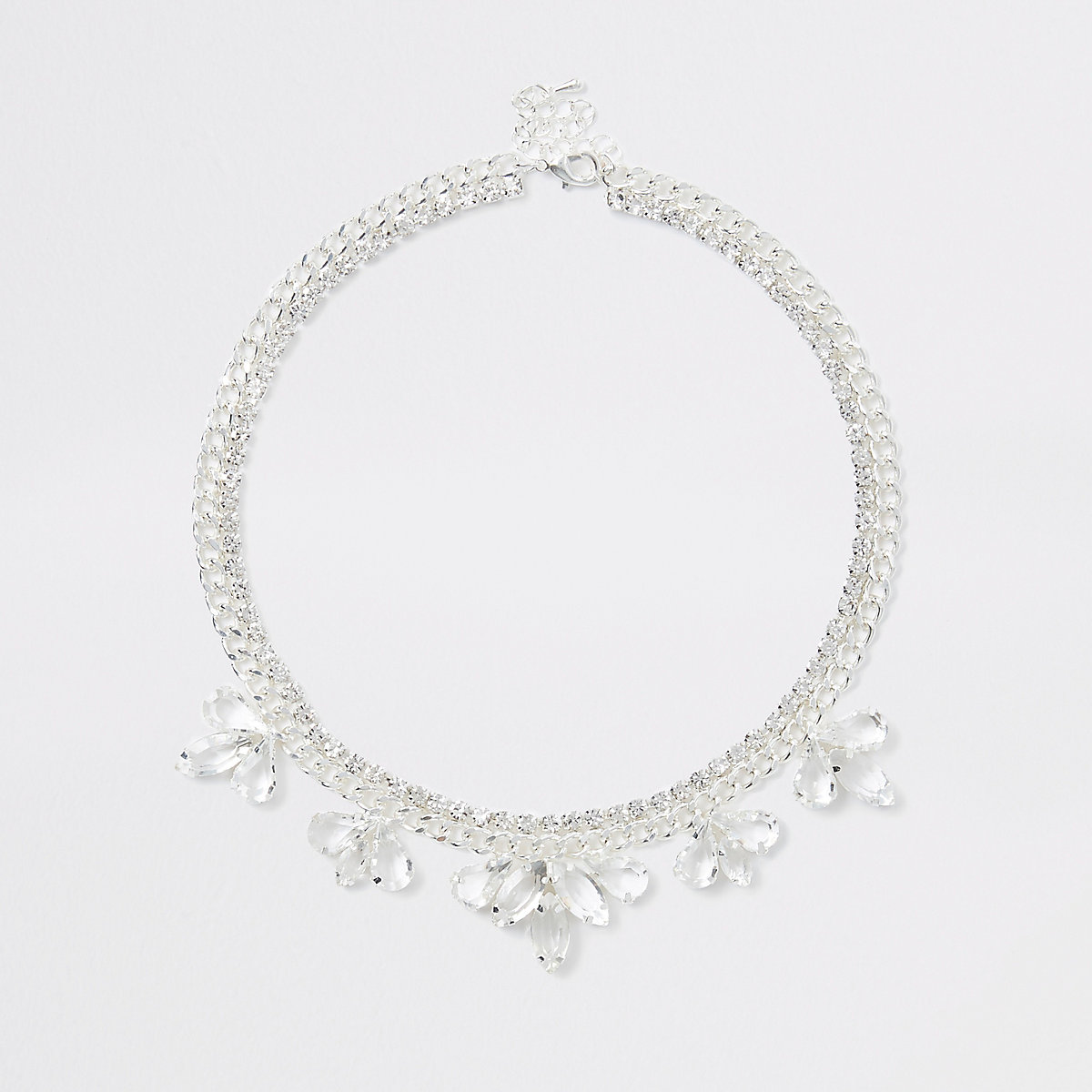 Silver color flower jewel necklace