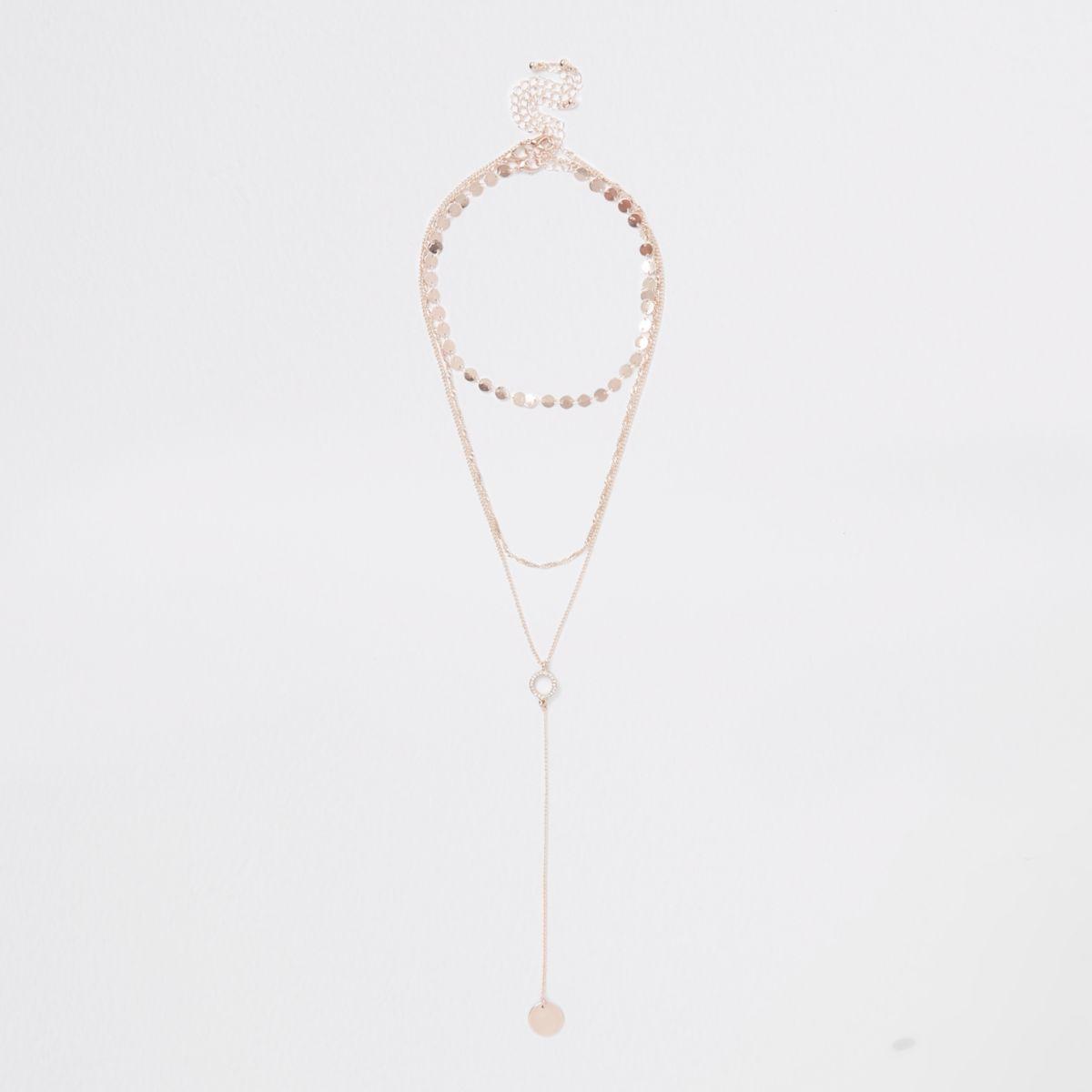 Rose gold tone interlinked necklace multipack