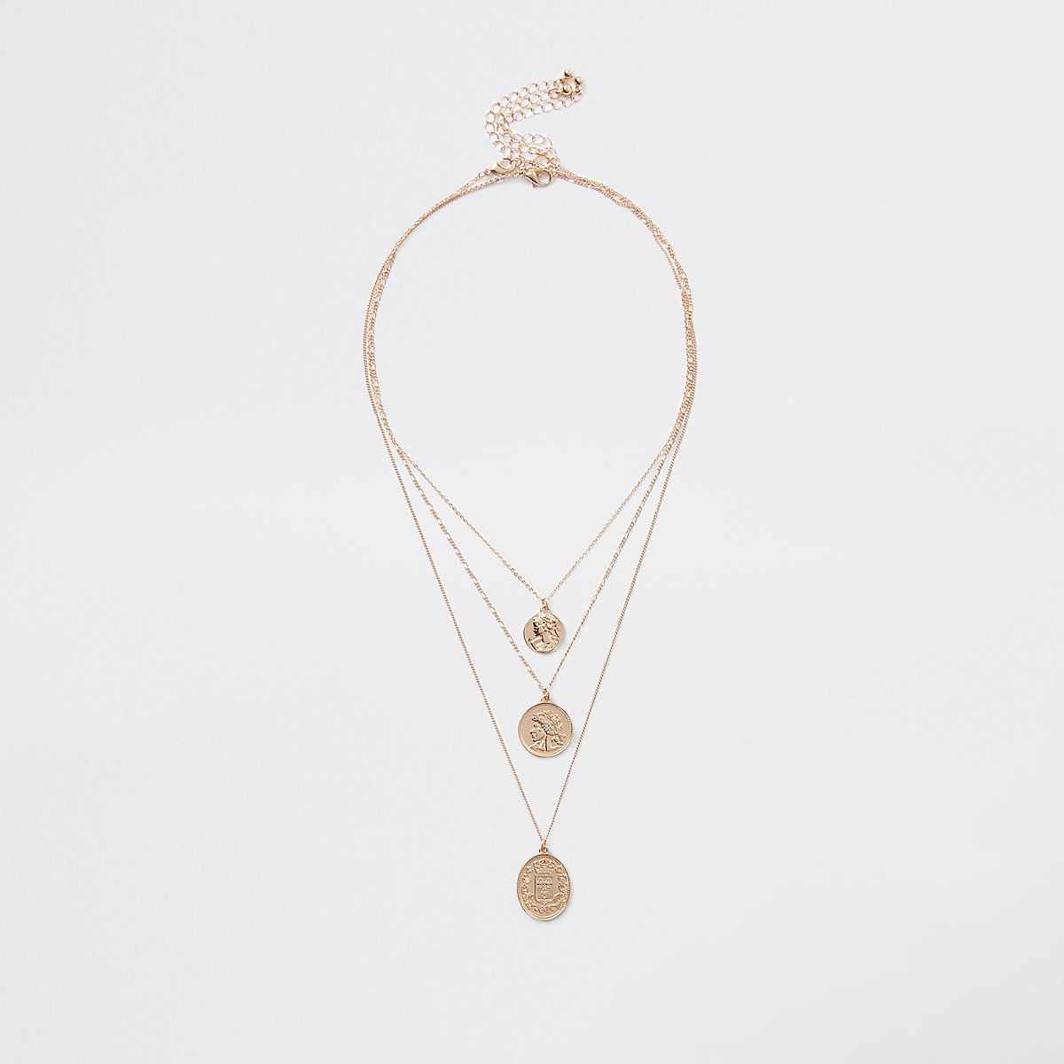 Gold colour layered coin necklace