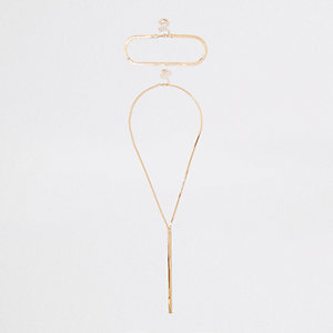 Gold tone interlinked necklace set