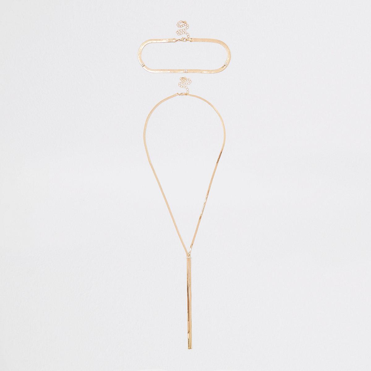 Gold tone interlinked necklace set