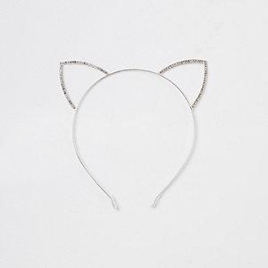 WSilver tone diamante cat ears headband