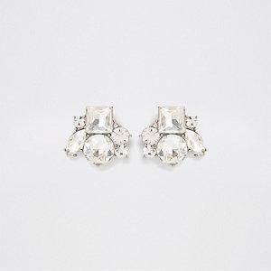 White cluster jewel stud earrings