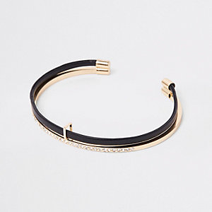 Black gold tone double layered cuff bracelet