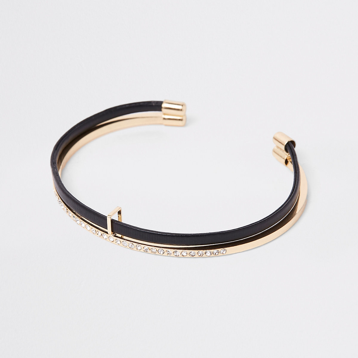 Gold tone double layered cuff bracelet
