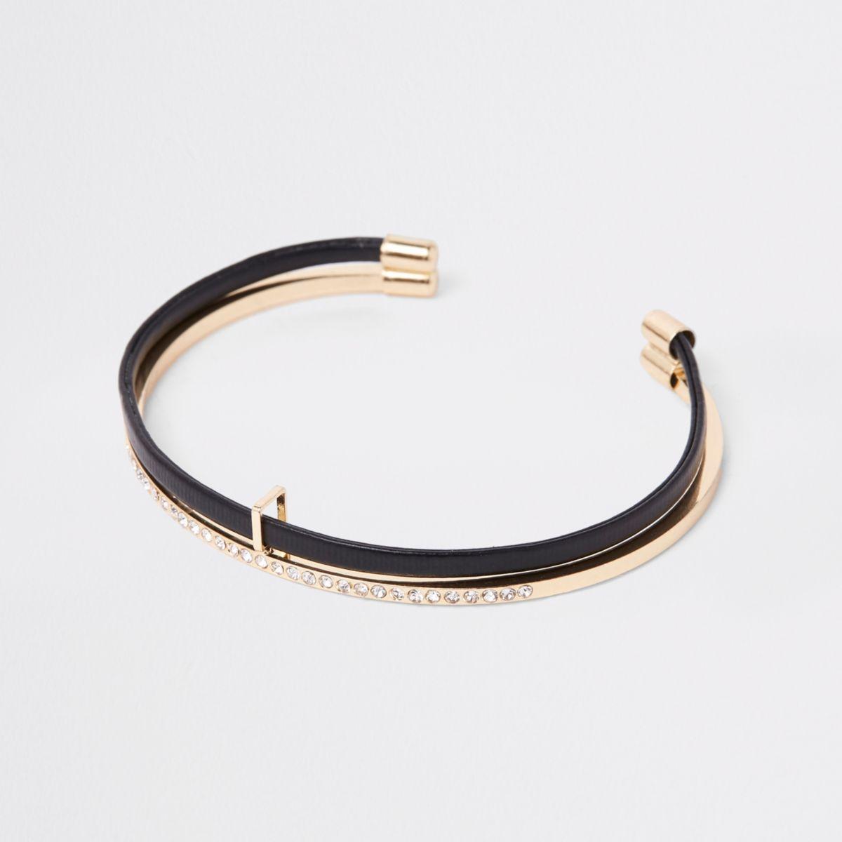 Black gold tone double layered cuff bracelet