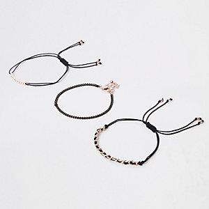 Black rose gold tone bracelet pack