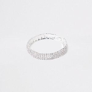 Silver tone paved bracelet