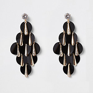 Gold tone black sequin layered earrings
