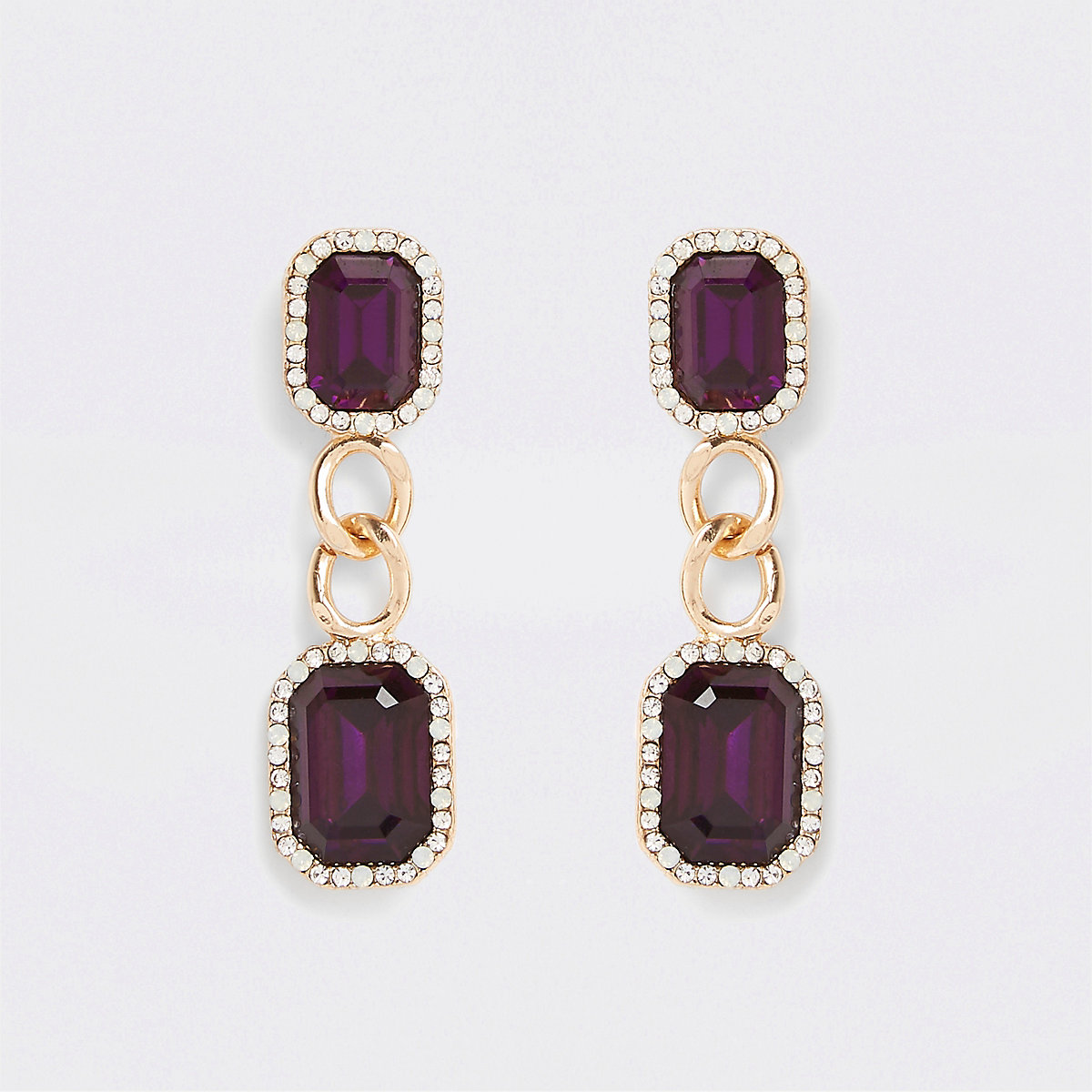 Gold tone stone chain drop earrings