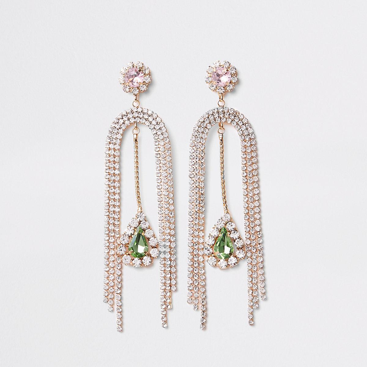 Gold tone split gem stone drop earrings