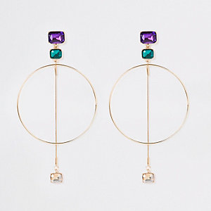 Gold tone jewel hoop drop earrings