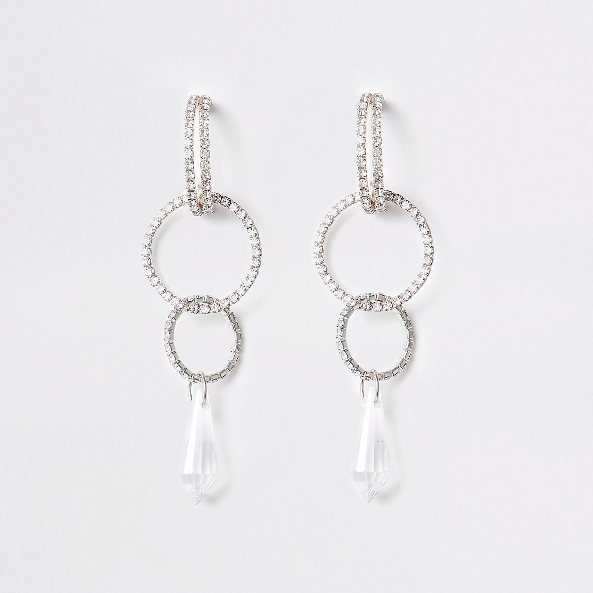 Silver diamante interlink hoop drop earrings
