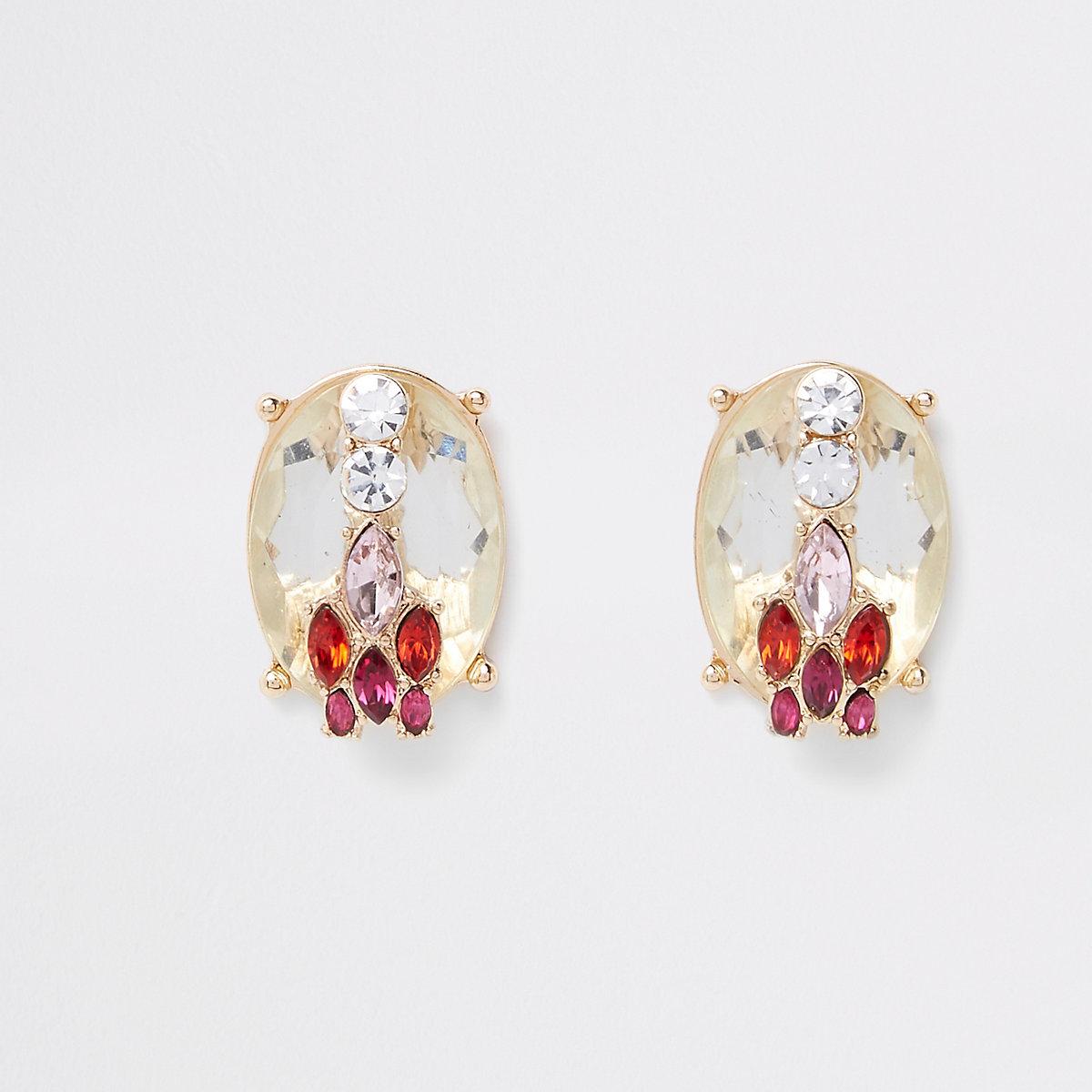 Gold tone layered jewel stone stud earrings