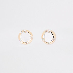 Gold colour diamante mirror stud earrings
