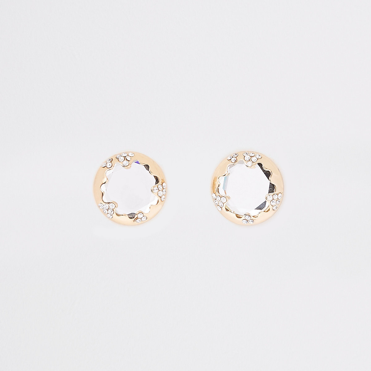 Gold tone rhinestone mirror stud earrings