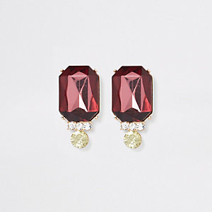 Gold tone burgundy jewel drop earrings