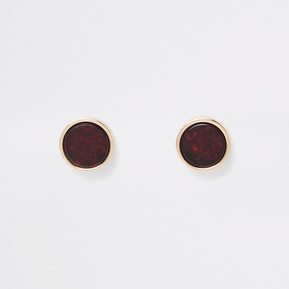 Gold tone trapped sequin stud earrings