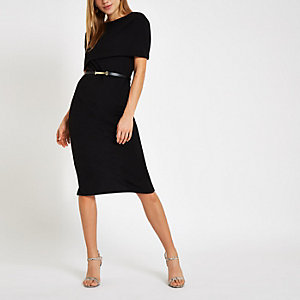 Black cape belted bodycon midi dress