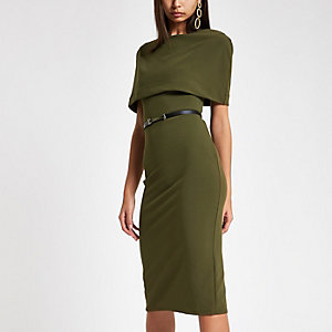 Khaki cape belted bodycon midi dress