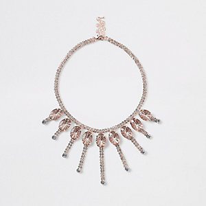 Rose gold jewel embellished necklace