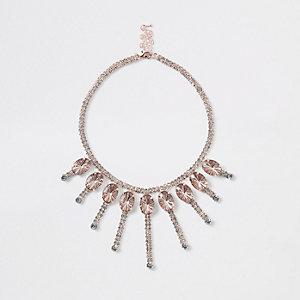 Rose gold jewel embellished necklace