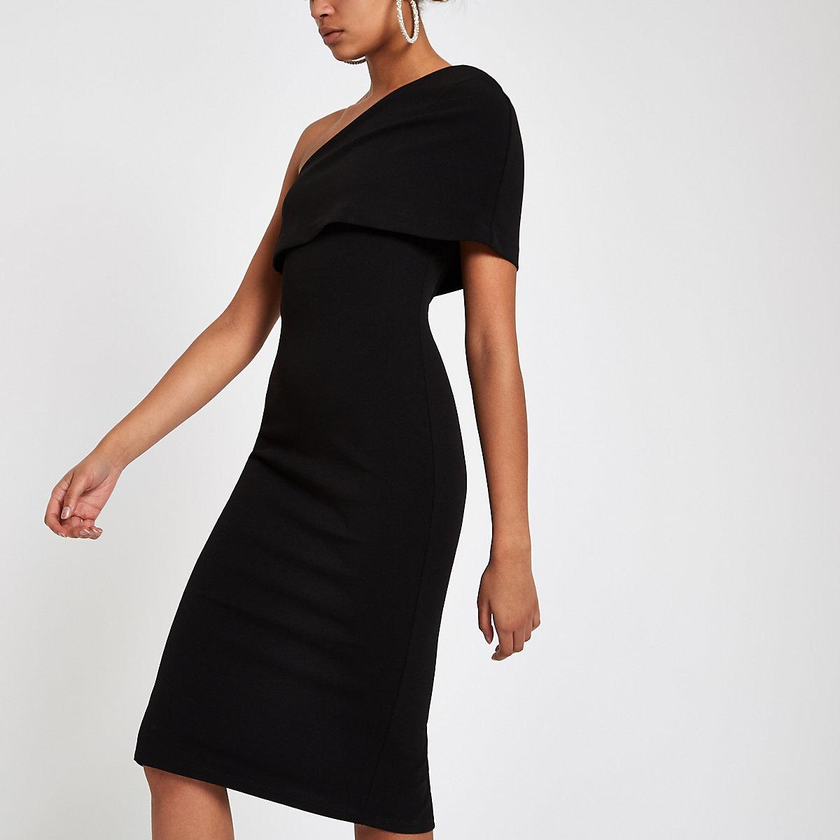 Black one shoulder cape bodycon dress