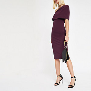 Burgundy one shoulder cape bodycon dress