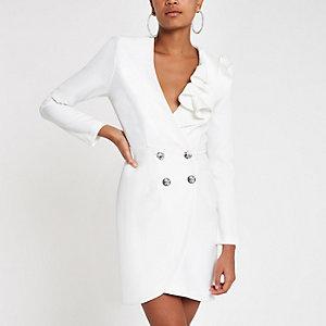 Cream rhinestone ruffle bodycon tux dress