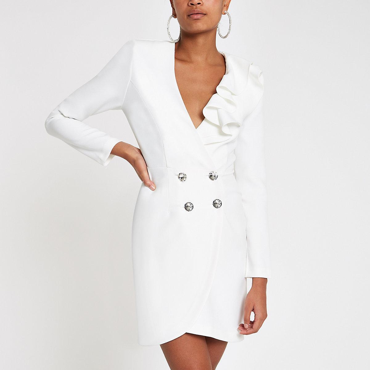 Cream diamante ruffle bodycon tux dress