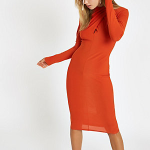 Orange wrap neck bodycon mini dress