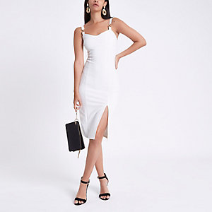 White ribbed gold tone chain midi dress