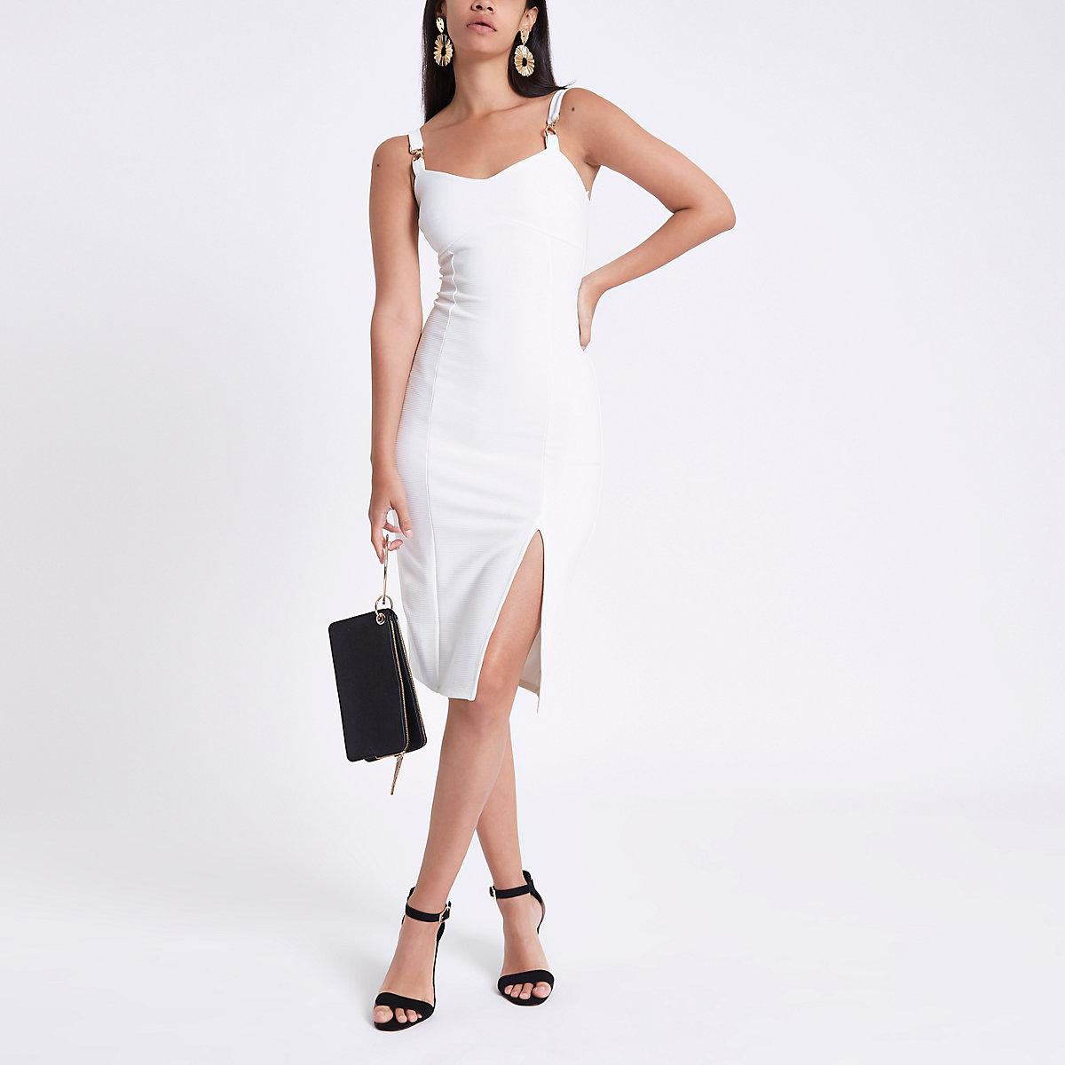 White ribbed gold tone chain midi dress