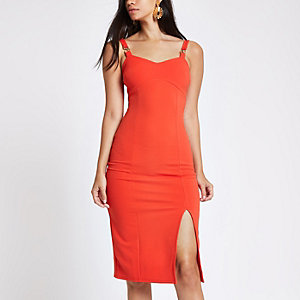 Red buckle strap bodycon midi dress