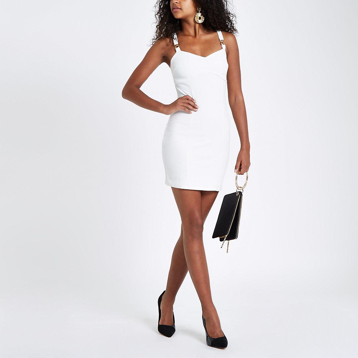 White buckle strap bodycon mini dress