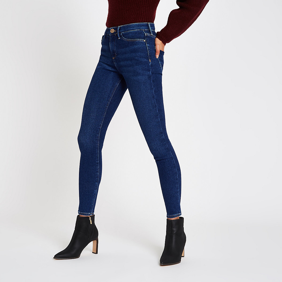 Dark blue Molly mid rise skinny jeggings